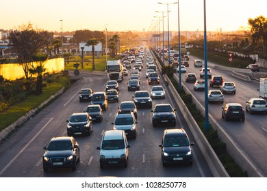 Casablanca, Morocco - 13 February 2018 : High angle view of the highway and traffic on evening
