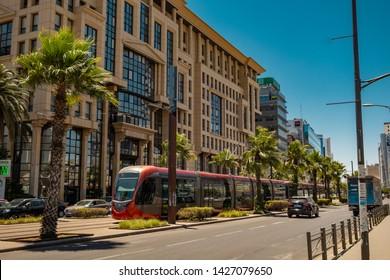Casablanca, Morocco - 15 june 2019: tram passing at financial district