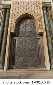 Casablanca, Morocco - 15.11.19: Closeup of one of the g the Hassan II Mosque. It is the largest mosque in Africa, the 7th largest in the world. Works as a museum, guided tours. Arabic archway details.
