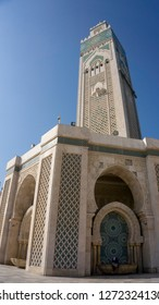 Casablanca, Morocco - 18 November 2018: The Hassan II Mosque - large, elaborate oceanfront mosque, built in 1993, with intricate decor & a soaring, 210-m. minaret. The largest mosque in Morocco.