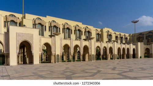 Casablanca, Morocco - 18 November 2018: Partial view of the museum are of The Hassan II Mosque - large, elaborate oceanfront mosque, built in 1993, with intricate decor & a soaring, 210-m. minaret.