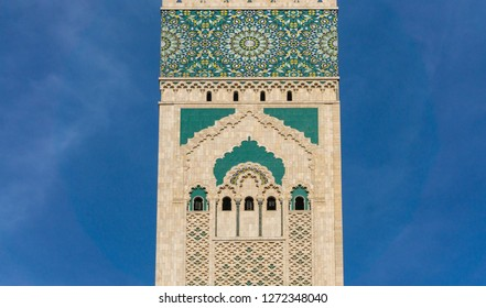 Casablanca, Morocco - 18 November 2018: The top of Hassan II Mosque tower - large, elaborate oceanfront mosque, built in 1993, with intricate decor & a soaring, 210-m. minaret.