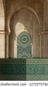 Casablanca, Morocco - 18 November 2018: Traditional mosaic walls of the incredible Hassan II Mosque - large,elaborate oceanfront mosque, built in 1993, with intricate decor & a soaring, 210-m.minaret.