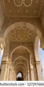 Casablanca, Morocco - 18 November 2018: Carved ceilings at the incredible Hassan II Mosque - large, elaborate oceanfront mosque, built in 1993, with intricate decor & a soaring, 210-m. minaret.
