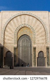 Casablanca, Morocco - 18 November 2018: The incredible mosaic gates of the Hassan II Mosque - large, elaborate oceanfront mosque, built in 1993, with intricate decor & a soaring, 210-m.minaret.