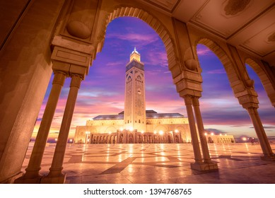 Casablanca, Morocco - 20 June, 2019: The Hassan II Mosque at the night. The largest mosque in Morocco and one of the most beautiful. the 13th largest in the world. Shot after sunset at blue hour