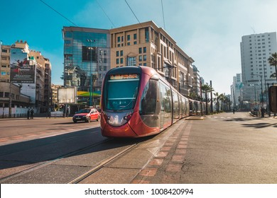 Casablanca, Morocco - 21 January 2018 : view of tram passing on railways in the financial district