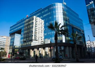 Casablanca, Morocco - 21 January 2018 : The Societe Generale Bank building  in Casablanca the economic capital of morocco