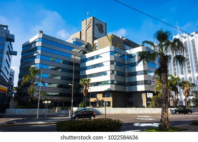 Casablanca, Morocco - 21 January 2018 : Banque Populaire Bank building  in Casablanca the economic capital of morocco