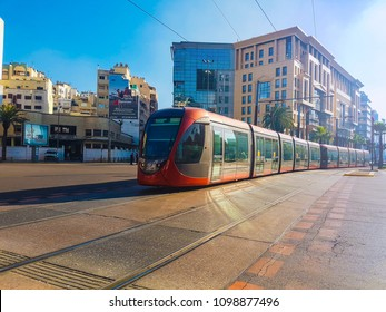 Casablanca, Morocco - 21 January 2018 : view of tram passing on railways in boulevard Hassan II, casablanca