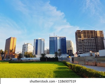 Casablanca, Morocco,  23 September 2018,  view of business buildings in the city center
