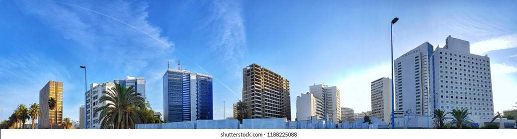 Casablanca, Morocco - 23 September 2018 : low angle panoramic view of business buildings in the economic capital of morocco, casablanca