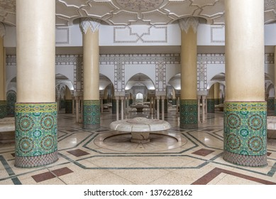Casablanca, Morocco - April 2019: Interior (ablution hall) of Hassan II Mosque