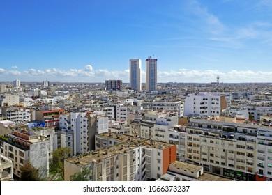 CASABLANCA, MOROCCO - April 3, 2018: Panoramic aerial view of casablanca, with Twin center Towers, Morocco. in Casablanca on April 3. 2018 in Morocco.