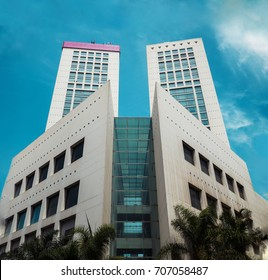 Casablanca, Morocco - August 24, 2017 : Low angle view of Twin center building against sky