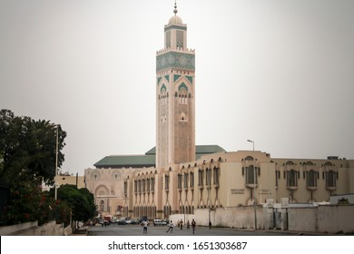 Casablanca, Morocco - August 7, 2010: Mosque Hassan II in Casablanca. It's minaret is the tallest in the world - 200 m. One of the few mosques where non muslims also can enter