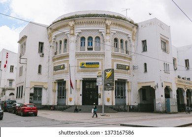 CASABLANCA, MOROCCO - CIRCA. MAY 2018: A building in Ville Nouvelle (New Town) of Casablanca, Morocco, showing a combination of Hispano-Moorish and French Art Deco styles.