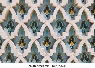 CASABLANCA, MOROCCO - CIRCA MAY 2018: Decorative tiles (zellige) typical of Moorish architecture (zellige) found at the Hassan II Mosque in Casablanca, Morocco.
