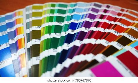 Casablanca, Morocco - december 20, 2017 : Pantone color guide. sample colors catalogue. Editorial only