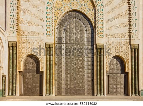 Casablanca, Morocco. entrance door of mosque Hassan II building