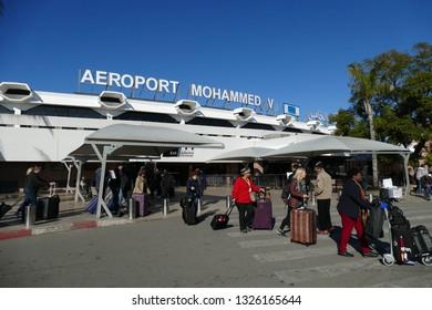 CASABLANCA, MOROCCO - FEB 11, 2019 - Airport Mohammed V, Casablanca, Morocco