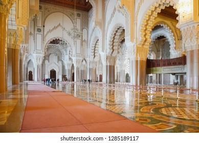 Casablanca, Morocco - February 21, 2013: Interior of Hassan II Mosque in Casablanca, Morocco