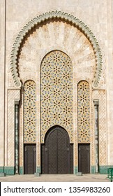 Casablanca, Morocco - February 21, 2019: Gates of the Hassan II Mosque with beautiful patterns, built in 1993. Hassan II Mosque is the biggest Mosque in Africa, with a 210 meter high minaret.