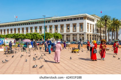 CASABLANCA, MOROCCO - MARCH 31,2017 - At the Mohamed V. sqaure in  Casablanca . Casablanca is the largest city in Morocco.
