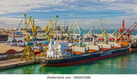 Casablanca, Morocco - March 9, 2018: Vessel Clipper in Casablana cargo sea port.