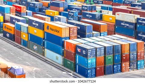 Casablanca, Morocco - March 9, 2018: Containers in Casablanca container terminal sea port.
