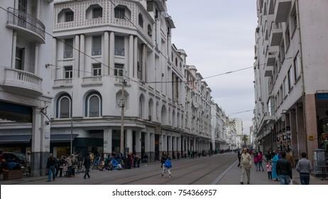 Casablanca, Morocco - May 10 2016: The street view of Boulevard Mohammed V, the main pedestrian street, Casablanca.