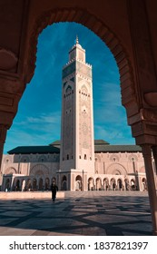 Casablanca, Morocco - November 02, 2018: People in Hassan II Mosque, a mosque in Casablanca, Morocco. It is the largest functioning mosque in Africa and is the 7th largest in the world.