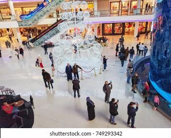 Casablanca, Morocco - October 16, 2017: People walking around the big aquarium in Morocco Mall
