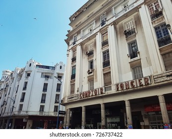 Casablanca, Morocco - October 2, 2017 : old building in the city of Casablanca