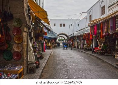 Casablanca, Morocco - Sep 1, 2018: Casablanca old souvenir market.