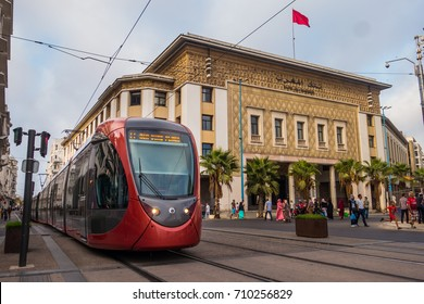 Casablanca, Morocco - September 3, 2017 : view of a tram and bank al maghrib in the streets of casablanca