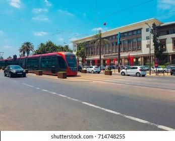 Casablanca, Morocco - September 3, 2017 : City Tram in the streets of Casablanca