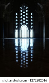 Casablanca/Morocco-march 2018: Symmetrical reflection of window and holes on gate of Mosque of Hassan II. Famous mosque landmark.  Interior design in dark background