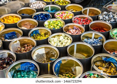 Casalborgone, Italy, 7/23/2018: candy for sale at open market in Casalborgone Italy weekly market