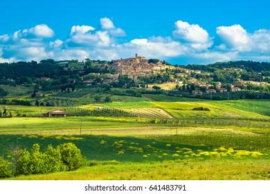 Casale Marittimo old stone village in Maremma skyline and countryside landscape. Pisa Tuscany, Italy Europe.