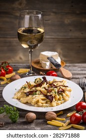 Casarecce pasta with cheese sauce