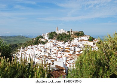 CASARES, SPAIN - MAY 3, 2008 - Elevated view of a traditional white village, Casares, Malaga Province, Andalucia, Spain, Western Europe, May 3, 2008.