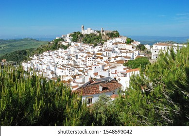 CASARES, SPAIN - MAY 4, 2008 - Elevated view of a traditional white village, Casares, Malaga Province, Andalucia, Spain, Western Europe, May 4, 2008.
