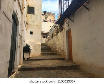 Casbah, Algiers, Algeria - December 17, 2016: Narrow streets of old city.