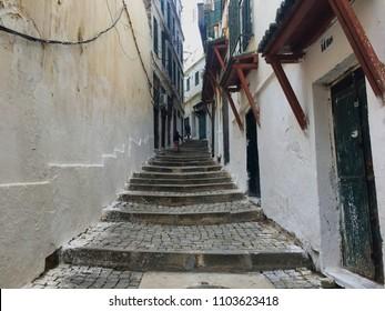 Casbah, Algiers, Algeria - December 17, 2016: Old steps in old city.