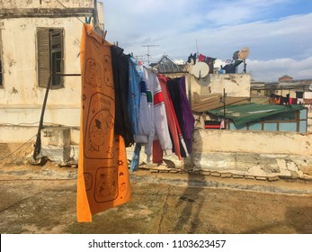 Casbah, Algiers, Algeria - December 17, 2016: Drying clothes on the roof of old building.