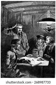 Cascabel scratches his head in hair pulling, vintage engraved illustration. Jules Verne Cesar Cascabel, 1890.