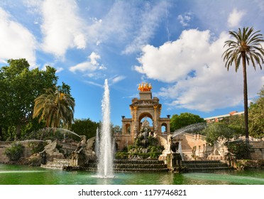 The Cascada (cascade) fountain in the Parc de la Ciutadella, or Citadel Park, in the center of Barcelona, Catalonia, Spain. The large green Citadel park is located near the old town of Barcelona