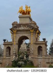 Cascada Monumental fountain and monument in  Ciutadella Park, Barcelona, Spain