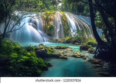 The Cascadas de Agua Azul are a series of waterfalls found on the Xanil River in the southern Mexican state of Chiapas. They are located in the Municipality of Tumbalá, 69 kilometres from Palenque, ne
